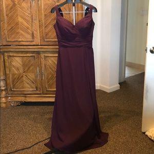 Bill Levkoff plum bridesmaid gown